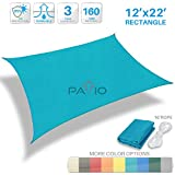 Patio Paradise 12' x 22' Solid Turquoise Green Sun Shade Sail Rectangle Square Canopy - Permeable UV Block Fabric Durable Patio Outdoor - Customized Available