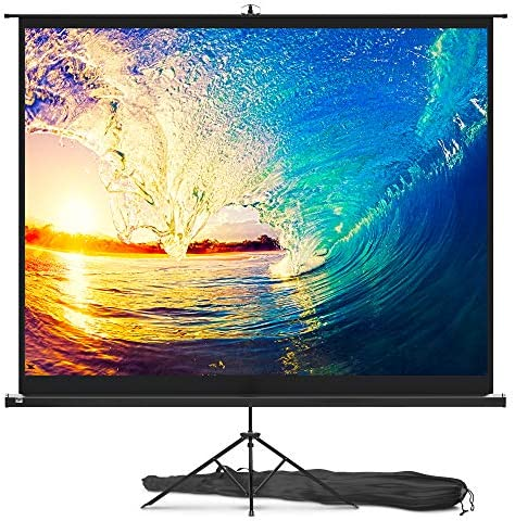 Projector Screen with Stand 100 inch - Indoor and Outdoor Projection Screen for Movie or Office Presentation - 4:3 HD Premium Wrinkle-Free Tripod Screen for Projector with Carry Bag and Tight Straps