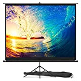 Projector Screen with Stand 100 inch – Indoor and Outdoor Projection Screen for Movie or Office Presentation – 4:3 HD Premium Wrinkle-Free Tripod Screen for Projector with Carry Bag and Tight Straps
