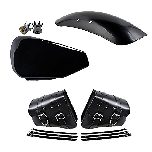 Left Side Battery Cover + 1 Pair Solo Swing Arm Saddlebag + Metal Short Front Fender Custom + 2X 8mm Crown Air Valve Cap Compatible with 10-13 Harley Sportster Forty Eight XL1200X