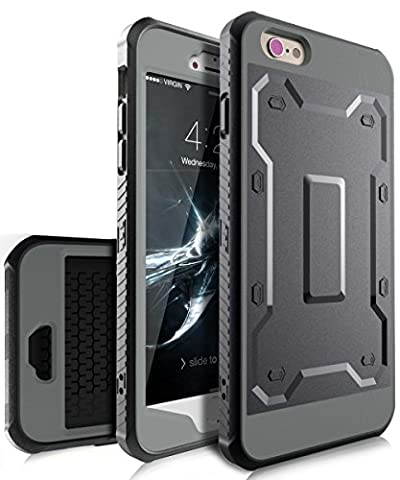 iPhone 6 Plus Case,iPhone 6s Plus Case,TIANLI [Slim] High Impact Protective Dual Layer Hybrid Case [Shockproof] With Built In Screen Protector For iPhone 6 Plus,iPhone 6s Plus 5.5 inch,Black/Grey
