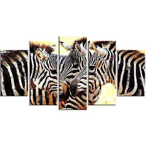 373 Trio (Digital Art PT2304-373 Zebra Trio Large Animal Canvas Wall Art)
