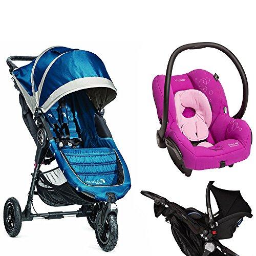 Baby Jogger 2014 City Mini GT Single Stroller, Teal/Grey w Car Seat Adapter & Maxi-Cosi Mico AP Infant Car Seat (Posh Purple)
