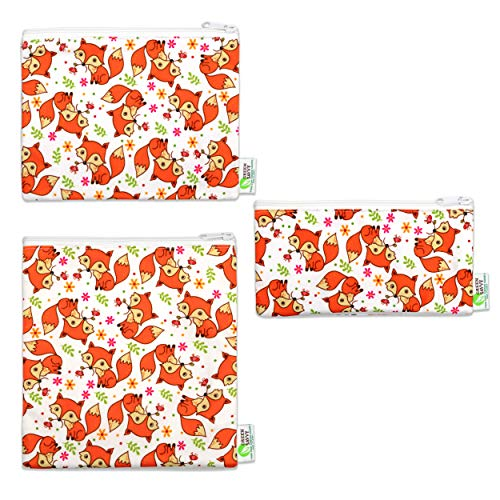 Green Savvy Reusable Snack Bags For Kids & Adults, Durable, Non-toxic, BPA Free, Zipped, Washable & Dishwasher Safe, Eco-Friendly Sandwich Bags -Set of 3- (Adorable Fox)
