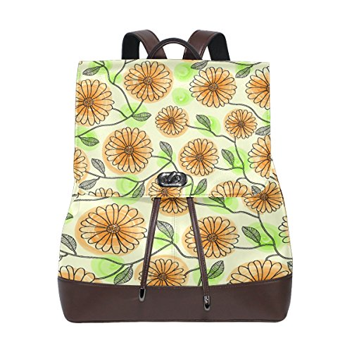 Chrysanthemum Painting Women's Genuine Leather Backpack Bookbag School Shoulder Bag