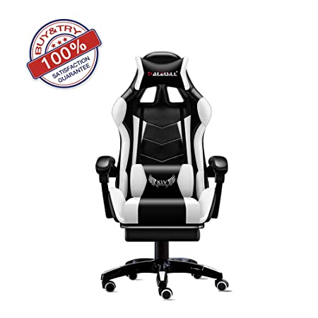 KLV Video Gaming Chair Racing Office-PU Leather High Back Ergonomic 155 Degree Adjustable Swivel Executive Computer Desk Task Large Size with Footrest,Headrest and Lumbar Support