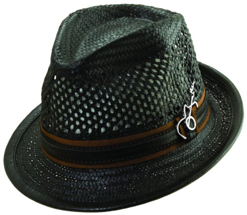 Santana Ribbon and Leatherette Trim Fedora Hat - Trim Fedora