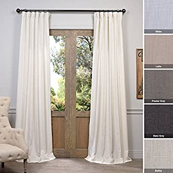 Half Price Drapes FHLCH-VET13192-108 Barley Heavy Faux Linen Curtain, 50 x 108, Brown