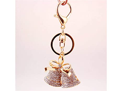 DOOUYTERT Wow Creativo Diamante Cinta Navidad Bell Llavero ...