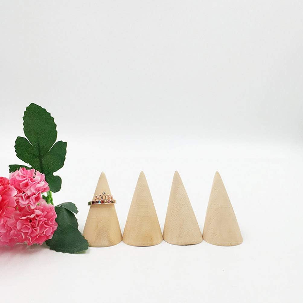 Heally Lot de 12 pr/ésentoirs coniques en bois pour bagues