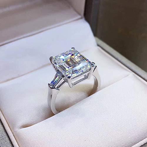 Rings for Women 18K White Gold+Authentic Diamonds Engagement Wedding Ring Gifts for Mum Her 5 Carat side stones Moissanite Ring