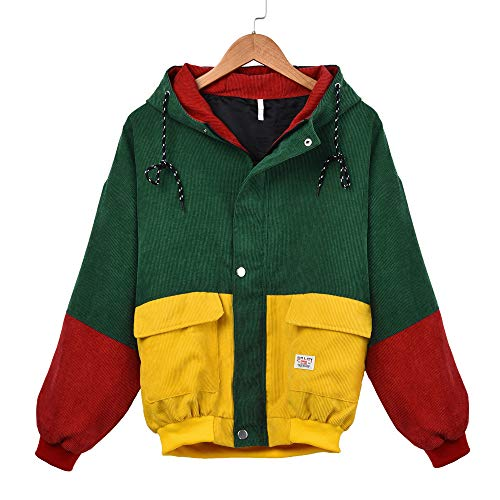 (Kulywon Women Long Sleeve Corduroy Patchwork Oversize Jacket Windbreaker Coat Overcoat)