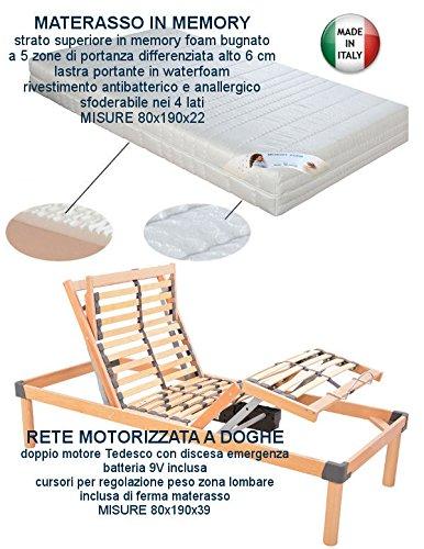 Rete elettrica motorizzata a doghe in legno + materasso in Memory 80x190  motore Tedesco