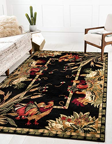 Unique Loom Barnyard Collection French Country Cottage Roosters Black Area Rug (9' x 12') -