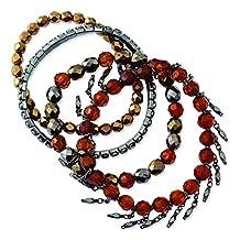 Black-plated Multicolored Glass & Acrylic Beads Stretch Bracelets