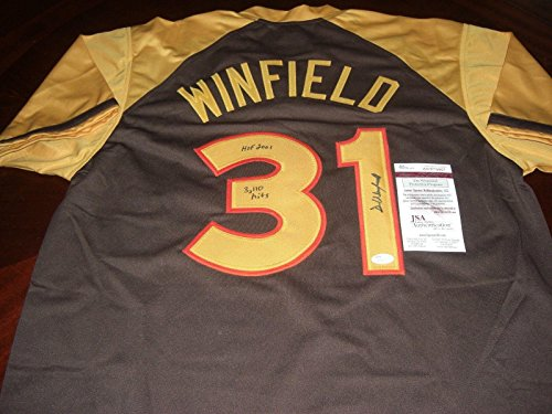 Autographed Dave Winfield Jersey - Sandiego Hof 2001 3110 Hits Home coa - JSA Certified - Autographed MLB - Winfield Memorabilia Dave