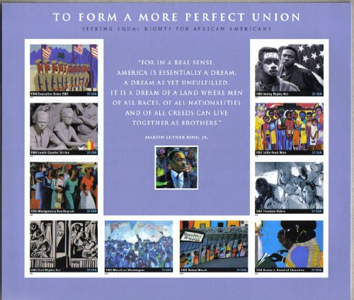 (I HAVE A DREAM ~ EQUAL RIGHTS FOR AFRICAN AMERICANS ~ BLACK HISTORY ~ BLACK HERITAGE ~ SOUVENIR SHEET OF 10 STAMPS)