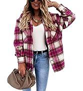 Tanming Women's Casual Wool Blend Plaid Shacket Jacket Button Down Shirt Wool Coat