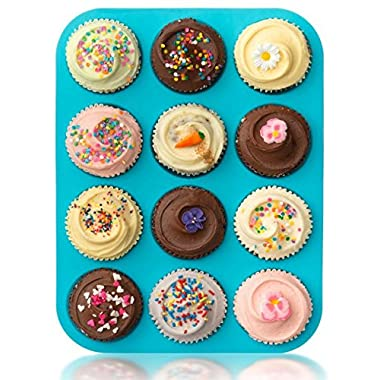 Lucentee Large Muffin Pans - Top Non Stick Bakeware for Muffins, Cakes and Cupcakes - 12 Cups Texas Jumbo Silicone Mold / Baking Tray - Heat Resistant Tins up to 450F- Easy to Clean - Blue