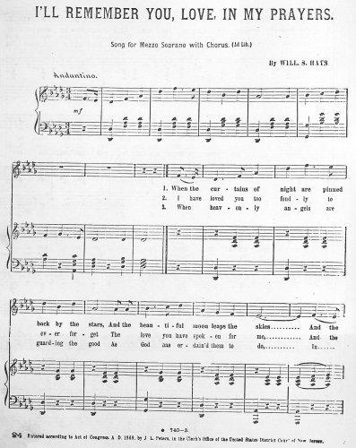 I'll Remember You, Love, In My Prayers - Score PDF
