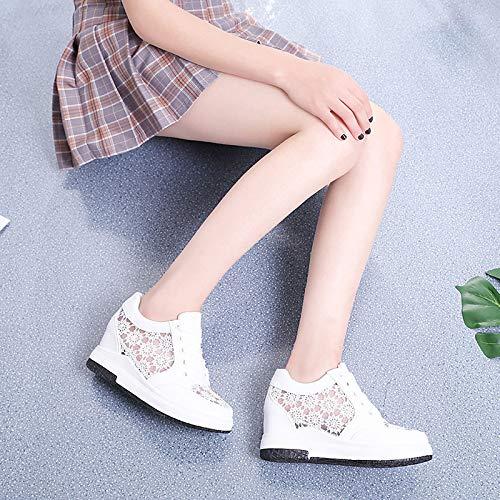 Zhznvx poliuretano Tulle Scarpe Rotonda Sneakers White Bianco pu Zeppa Comfort Donna Tacco Punta nero Summer Da rrSqH