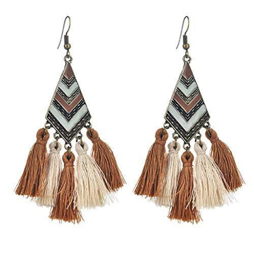 (Topgee New Earrings Fashion Plush Ball Drop Earrings For Women Personality Round Tassel Earrings Women Bohemian Exaggerated Retro Fashion Fringed Metal for Women/Lady/Girl)
