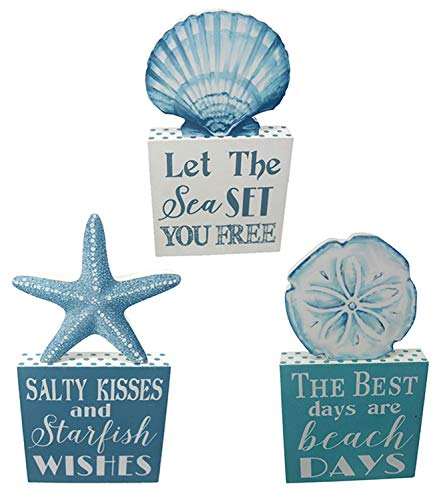 Chesapeake Blue Starfish Scallop and Sand Dollar Shells Block Signs Set of 3