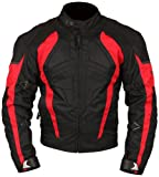 Milano Sport Gamma Motorcycle Jacket with Red Accent (Black, Large)