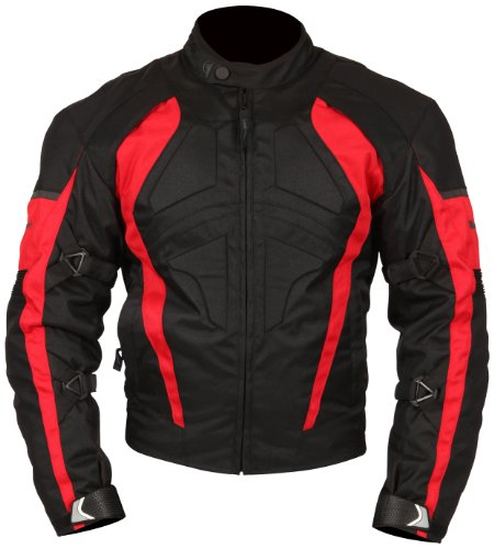 - Milano Sport Gamma Motorcycle Jacket with Red Accent (Black, Large)