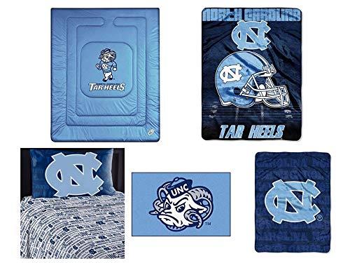 NCAA North Carolina Tar Heels Locker Room 7pc Ensemble: Includes twin comforter, twin flat sheet, twin fitted sheet, pillowcase, rug, throw, and blanket ()