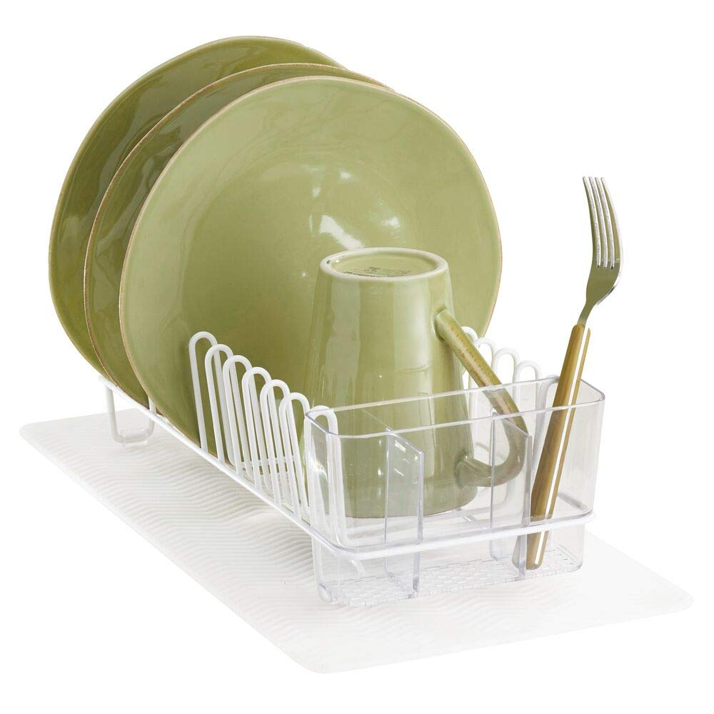 mDesign Compact Kitchen Countertop, Sink Dish Drying Rack and Silicone Drying Mat - Drain and Dry Wine Glasses, Bowls and Dishes - Set of 2, Wire Drainer in White with Clear Heat-Safe Mat