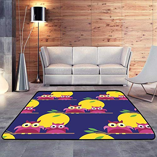Small Rugs,Decorative Owls Moonlit Night Textile Rapport.W 63