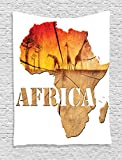Ambesonne African Decorations Collection, Africa Map with Wood Tree Texture and Giraffe Figures Fantasy Spiritual Continent, Bedroom Living Room Dorm Wall Hanging Tapestry, Orange Tan