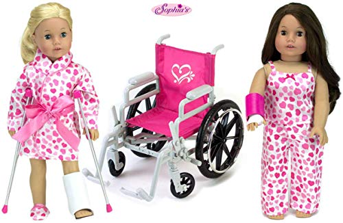 Sophia's 9 Piece Doll Wheelchair, Pajamas & Accessories for 18 Inch Dolls Like American Girl Dolls Includes Doll Wheelchair, Doll Crutches, Doll Pajamas & More