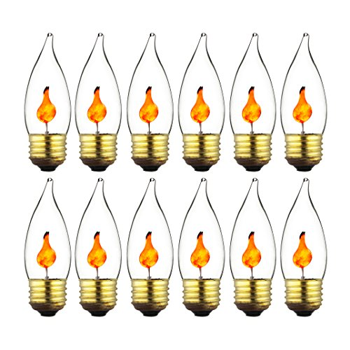 Amber Chandelier Incandescent (Sunlite 3EFC/12PK 3W Halloween Incandescent Chandelier Flickering Flame Light Bulbs with Medium E26 Base and Crystal Clear Bulb (12 Pack))