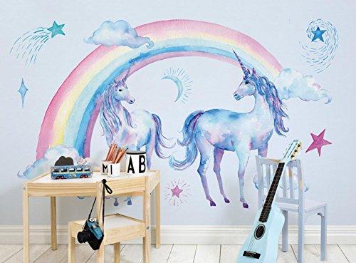 Keshj Kinderzimmer Hintergrund 3D Wallpaper Wallpaper Wallpaper Wandbilder Niedlich Schönen Regenbogen Einhorn Tapete Wohnzimmer-200Cmx140Cm B07GD1NDG1 Wandtattoos & Wandbilder b325d8