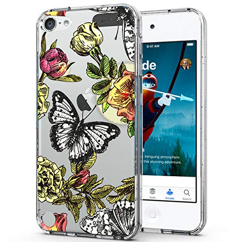 iPod Touch Case,iPod Touch Case 6th Generation,i-Pasn Slim Shockproof Clear Pattern Fashion Colourful Design Anti-Fingerprint Scratch-Resistant Protective Cover for iPod Touch 5/6/7,Butterfly (05 Ipod)