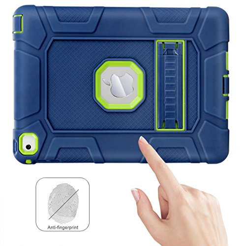iPad Air 2 Case, WORLDMOM [Hybrid Shockproof Case] with KickStand Support Rugged Triple-Layer Heavy Duty Shock Resistant Drop Proof Case Cover for iPad Air 2 with Retina Display/iPad 6,Blue/Green by WORLDMOM (Image #7)