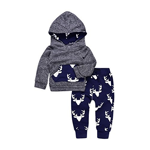 2PCs Baby Deer Print Hoodies with Pocket Top + Striped Long Pants Autumn Outfit Set (0-6M(Tag70), Grey&Dark Blue) Baby Boy Winter Clothes