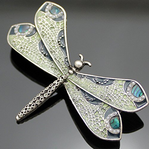 Silver - Tone Q&Q Fashion Retro Art Nouveau Victorian Dragonfly Simulated - Pearl Wing French Lapel Brooch Pin Badge
