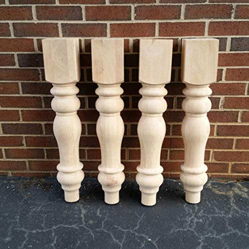 Dining Leg Set Room (Chunky Unfinished Farmhouse Dining Table Legs- Set of 4 Turned Legs- Design 59 inc)