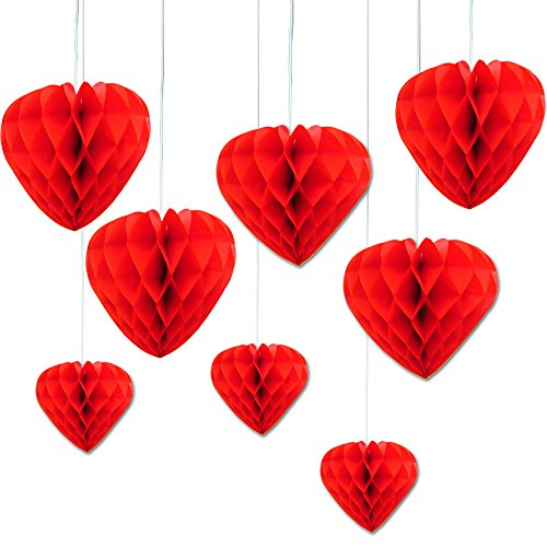 Red Hanging Honeycomb Tissue Paper Hearts.Pack Of 8 Red Heart Shaped Honeycomb Decorations - 8 Inches - Valentine's Hanging Decorations.Perfect For Parties,Weddings,Holidays,Anniversaries And More. by Premium Disposables