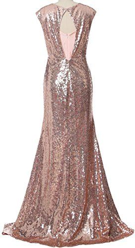 MACloth Women Long Bridesmaid Gown Cap Sleeve Sequin Formal Party Evening Dress Verde Oliva
