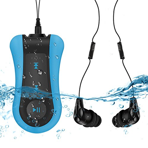 AGPTEK Waterproof MP3 Player 8GB with Clip, S12 Comes IPX8 Underwater Headphone for Running, Swimming, Shuffle Mode