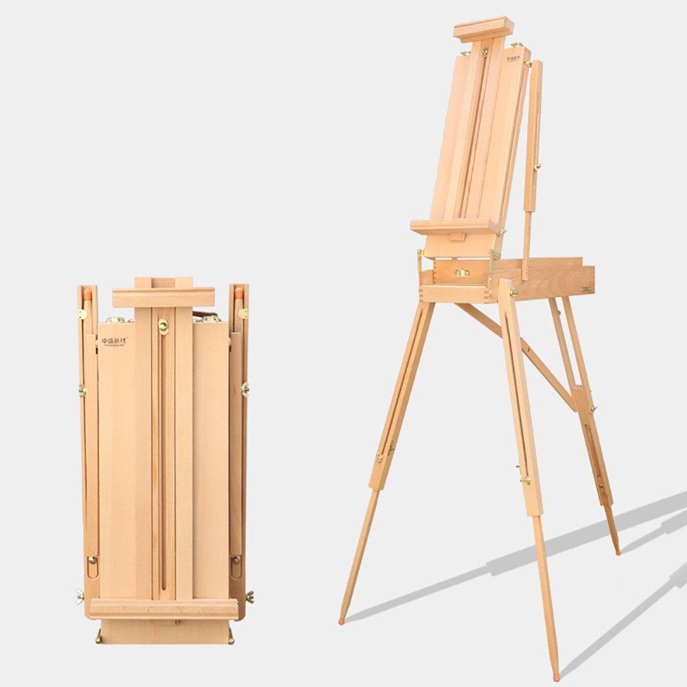 LXLA- Tragbare Ölgemälde Box Holz Skizzieren Staffelei Reise Stativ Studio Farbe Stehen Für Indoor Und Outdoor 61 × 31 × 20 cm