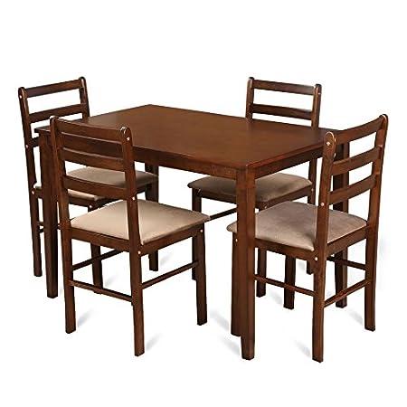 HomeTown Magix 4-Seater Dining Set (Dark Walnut)