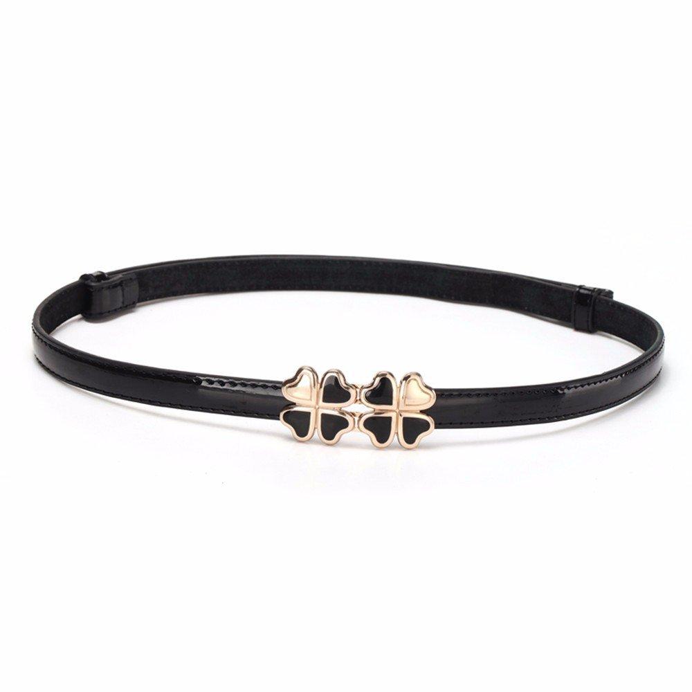 SAIBANGZI Ms Women All Seasons Belt Fashion Candy Color Fine Decorative Narrow Belt Girlfriend Present Black 92Cm