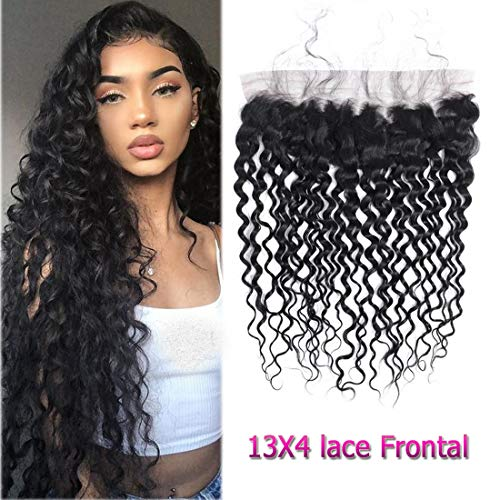Brazilian Water Wave 13x4 Lace Frontal Closure 10 Inch Human Hair Closure Frontal with Baby Hair Ear to Ear Lace Frontal Water Wave ()