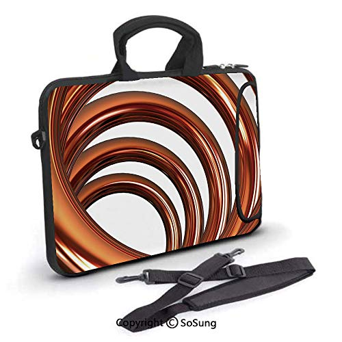 (17 inch Laptop Case,Copper Helix Coil Curved Spiral Pipe Swirled Shape on White Backdrop Decorative Neoprene Laptop Shoulder Bag Sleeve Case with Handle and Carrying & External Side Pocket,for)