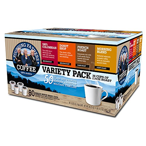 Founding Fathers Coffee, Variety Pack, Single Serve K-Cups, 80 Count (Compatible with Keurig 2.0)
